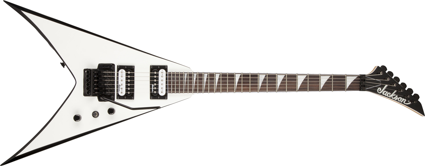 GUITARRA JACKSON KING V 291 0123 - JS32 - 577 - WHITE WITH BLACK BEVELS